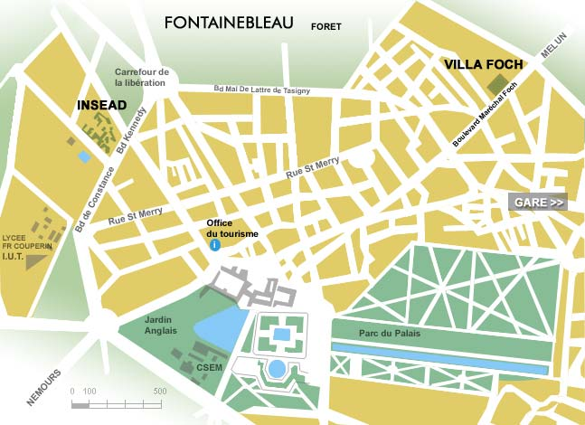 Insead housing in Fontainebleau Fontainebleau map